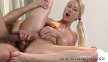 Two luscious blond women Diana and Elaina sharing on cock